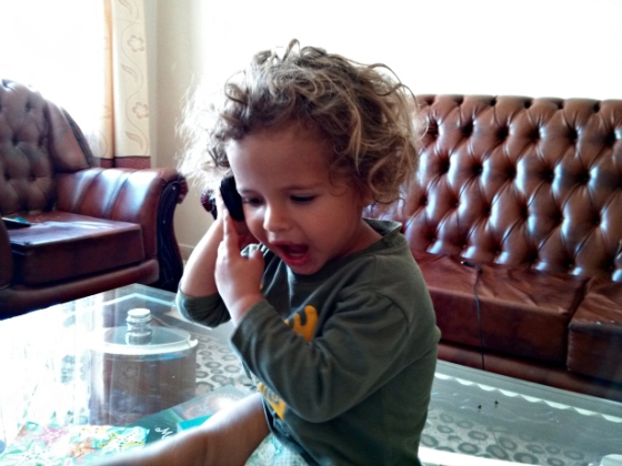 Lucas on phone 3